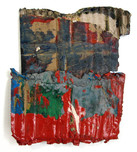 """Shed Field Red (2021) 5.5"""" x 6.5"""" Acrylic, wood glue, gouache, Ink, spraypaint on cardboard"""