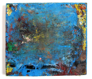 "Past the Buoys (2021) 19"" x 17"" Acrylic, Traffic paint, spray paint, on canvas"