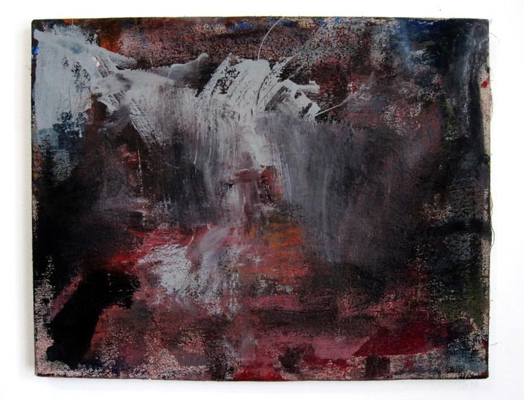 "Untitled (2021) 19"" x 15"" Acrylic, wood glue, gouache, Ink, spraypaint on canvas"