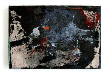 """Phobos et Deimos (2021) 13.25"""" x 9"""" Acrylic and spray paint on canvas"""