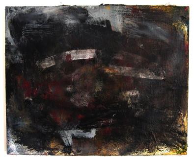 "Damned Decay (2021) 21.5"" x 17.5"" Acrylic, wood glue, gouache, Ink, spraypaint on canvas"