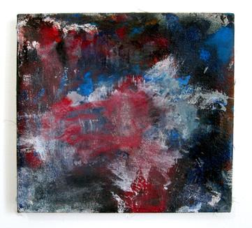 """Corps (2021) 13"""" x 12"""" Acrylic, wood glue, gouache, Ink, spraypaint on canvas"""