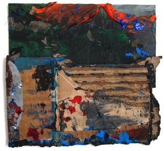 "Fake Mountain (2021) 7"" x 6.5""  Acrylic, wood glue, gouache, Ink, spraypaint on cardboard"