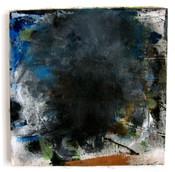 "Black Smoke Daytime (2021) 15"" x 15"" Acrylic, wood glue, gouache, Ink, spraypaint on canvas"