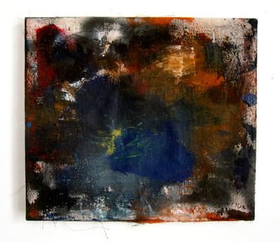 """Mine (2021) 13.5"""" x 12"""" Acrylic, wood glue, gouache, Ink, spraypaint on canvas"""