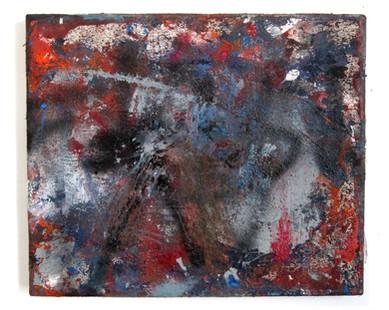 "Untitled (2021) 16"" x 13.5"" Acrylic, spray paint, enamel on canvas"
