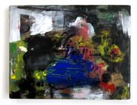 "D (2020) 9"" x 7"" Acrylic, gouache, permanent marker on canvas"