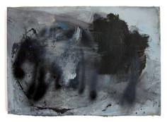 """Thru Cement (2021) 20.5"""" x 14.5"""" Acrylic, wood glue, gouache, Ink, spraypaint on canvas"""