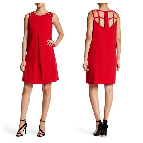 NWT Red Crepe Cage Back Shift Dress Size 12