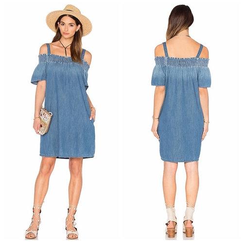 Chambray Pocket Shift Dress Size M