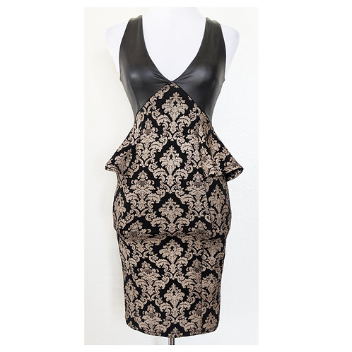 Damask Bodycon Peplum Dress