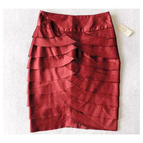 Oxblood Red Shutter Pleat Wiggle Skirt