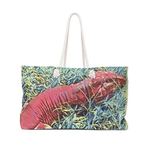 Argentine Red Tegu Lizard Weekender Bag,  Large Tote Bag