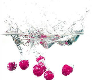 Raspberies in water