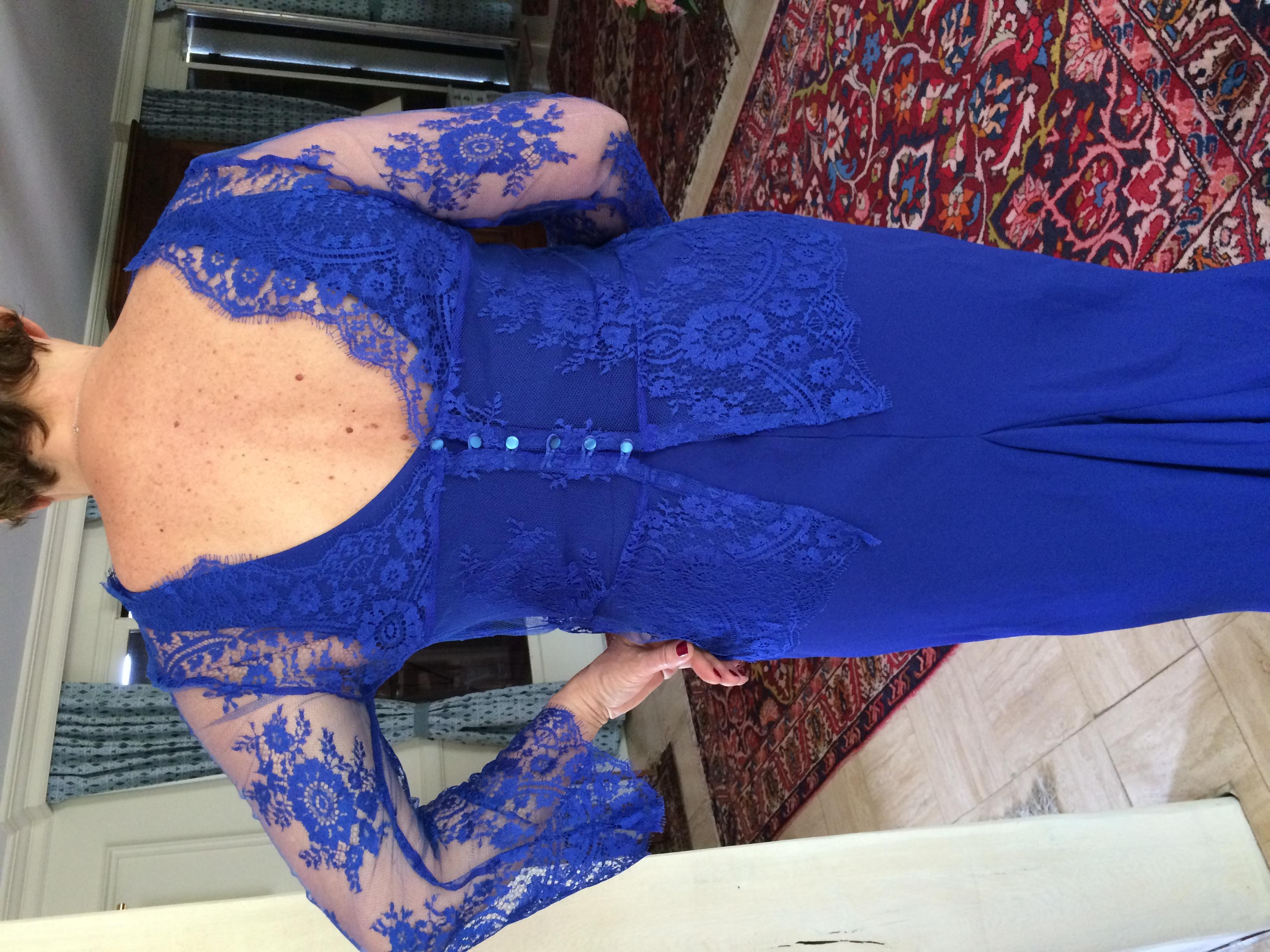 Robe longue en crêpe bleu