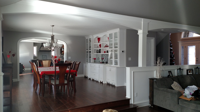 A remodeled kitchen and dining area.