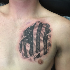 AMERICAN FLAG IN BLACK AND GREY