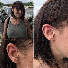 Double Forward Helix and Tragus Piercings