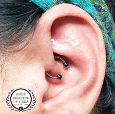 Daith with Forward Facing Onyx Cab stones made by Leroi