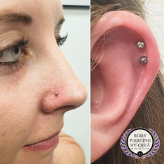 Nostril & Double Helix Piercing