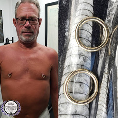 Nipple Piercings with 10ga Yellow Gold Seam Rings