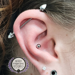 Industrial and Conch Piercings