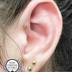 Forward Helix, Lobe, and Upper Lobe Piercings