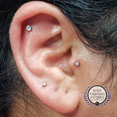 Tragus, Helix and Upper Lobe Piercings