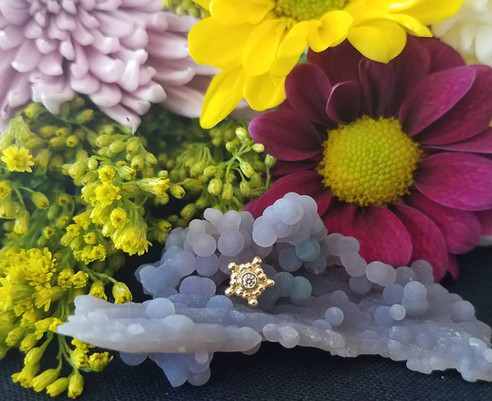 Yellow Gold Cluster with white cz