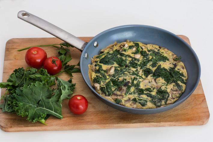 Kale, Mushroom and Potato Frittata