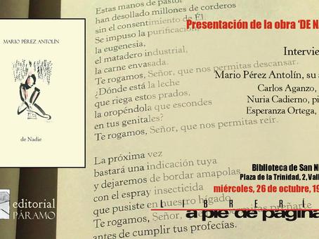 Presentación de 'De Nadie' en Valladolid