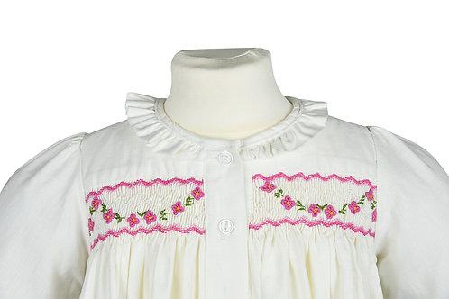 Langarm Nachthemd mit rosa Blumengirlande
