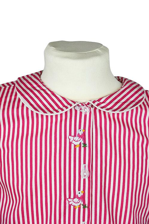 Kopie von Rosa gestreifter, langarm Pyjama mit Entenstickerein