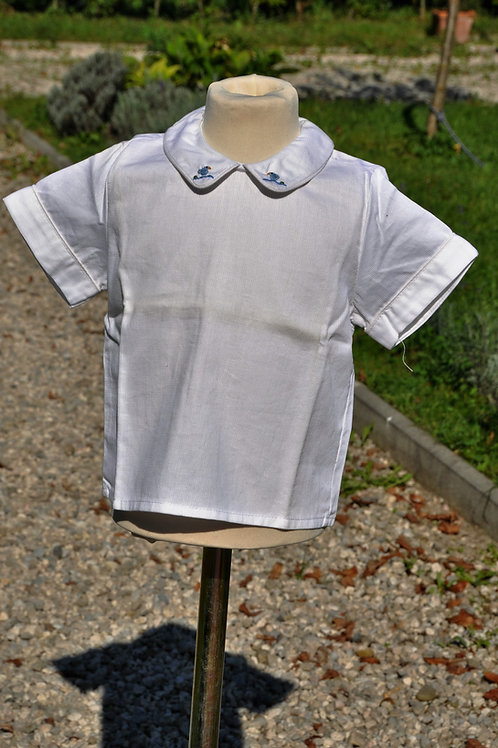 Weiße Bluse mit blauen Vöglein- kurzarm