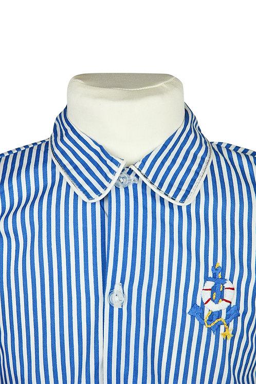 Blau linierter, langarm Pyjama mit Ankerstickerei