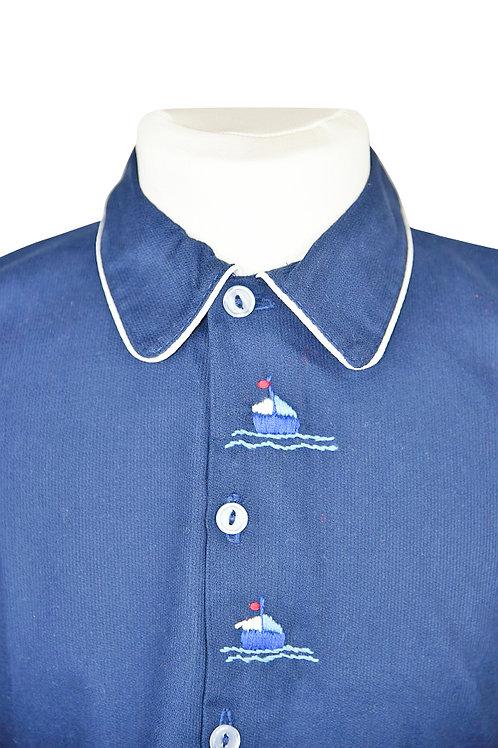 Dunkelblauer, langarm Pyjama mit Segelbootstickerein