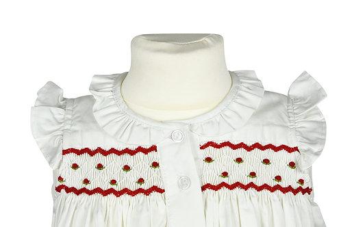 Kurzarm Nachthemd mit roten Butterblumen