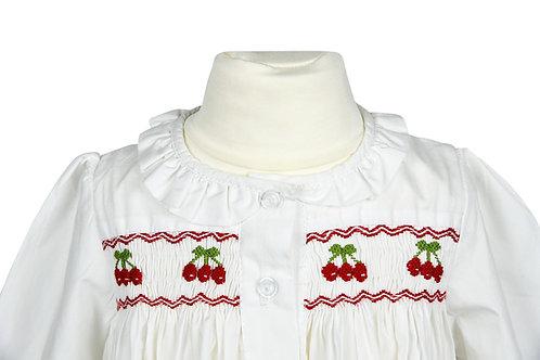 Langarm Nachthemd mit roten Kirschen