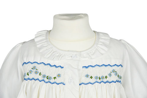 Langarm Nachthemd mit blauer Blumengirlande