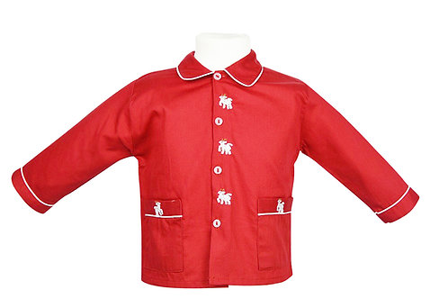 Roter, langarm Pyjama mit Lamastickerein