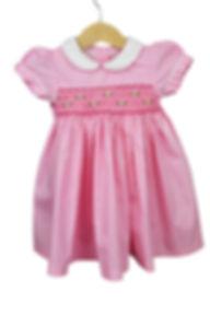 gesmocktes Kleid, rosa visy, Kurzarm