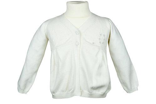 Weiße Strickjacke mit weißen Blumen- langarm