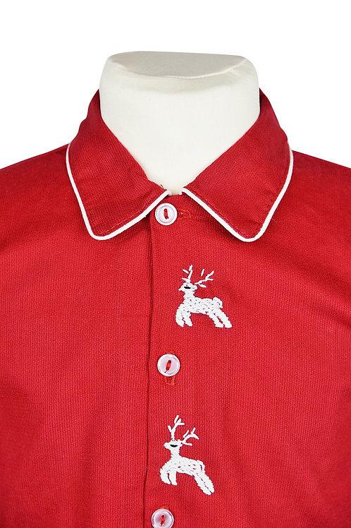 Roter, langarm Pyjama mit Hirschstickerein