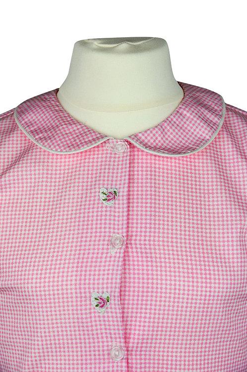 Rosa karierter langarm Pyjama mit Blumenstickerein