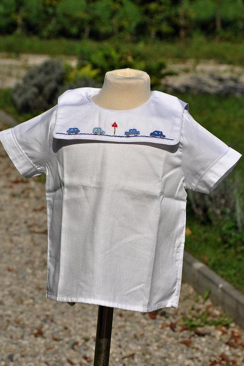 Weiße Bluse mit blauen Autos- kurzarm