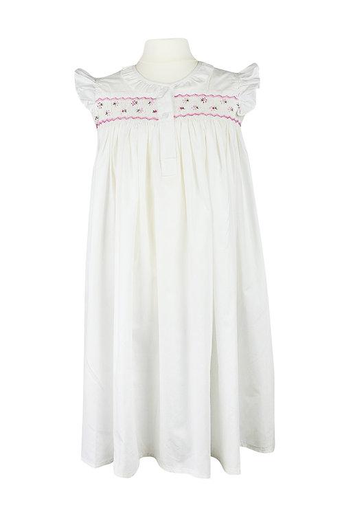 Weißes Nachthemd mit rosa Blumenmuster- ärmellos