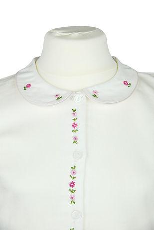 Kurzarm Bluse mit rosa Blumenleiste