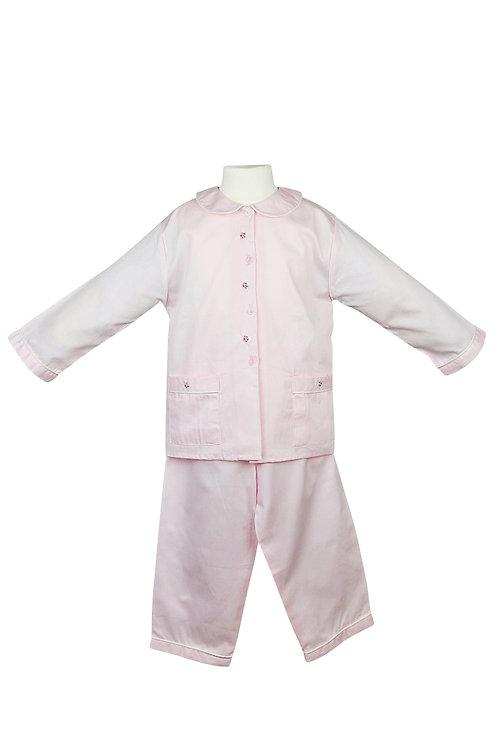 Rosa Pyjama mit Blumenmuster- langarm