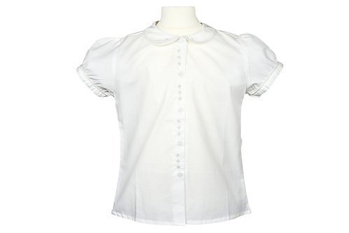 Weiße Bluse mit weißem Blumenmuster- kurzarm