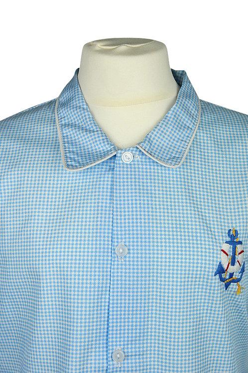 Hellblau karierter, langarm Pyjama mit Ankermotiv